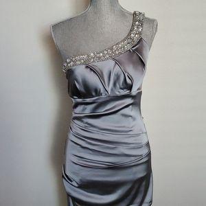Betsy & Adam Silver One-shoulder Dress w/Beading